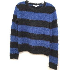 DKNY Striped Eyelash Knit Cropped Sweater